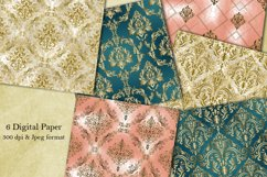 Victorian damask seamless pattern. Digital Paper. Scrapbook Product Image 1