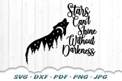 Stars Can't Shine Without Darkness Wolf SVG DXF Cut Files Product Image 3