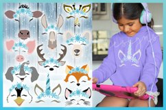 Snowflakes SVG | Smiling Animal Faces Snowflakes SVG Bundle Product Image 2
