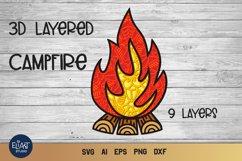 Campfire SVG   3D Layered SVG Bonfire   Camping SVG Product Image 1
