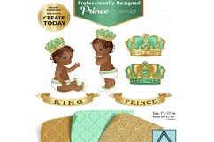 Mint green and Gold Baby Prince/King Royal Digital Clipart Product Image 1