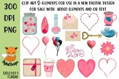 Valentine Clipart Elements Sublimation Scrapbooking Bundle Product Image 1