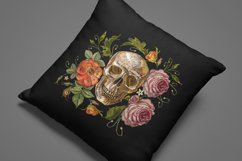 Embroidery style skull and red roses Product Image 4