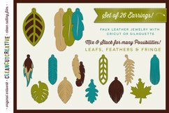 Set of 26 Faux Leather Earrings - SVG DXF EPS PNG craft file Product Image 1