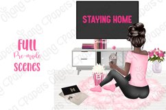 STAY HOME CLIPART - Fashion Girl Planner Graphics Product Image 9