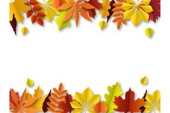 Fall leaves concept. Autumn border, paper cut frame of orang Product Image 1