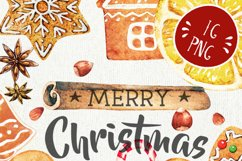 Watercolor Christmas Gingerbreads, Candy Canes, Cookies Product Image 2