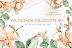 Watercolor Set Orchids and Dragonflies Product Image 1