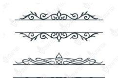 decorative floral swirl split baner svg bundle Product Image 2