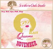 Black queens are born in November birthday t shirt design Product Image 6