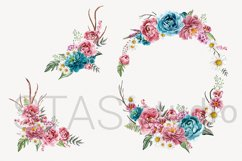 Boho Bouquets Clipart, Watercolor Boho Peony, Hand Painted Product Image 2