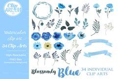 Blue Floral Clip Art, Wedding Watercolor clip art 34 PNG Product Image 3