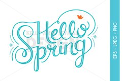 Hello Spring Typography Clipart, Word Clip Art Product Image 1