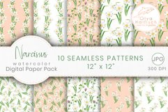 Narcissus Paper Pack. Watercolor Floral Seamless Patterns Product Image 1