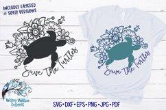 Save The Turtles SVG   Sea Turtle Floral Mandala SVG Product Image 1