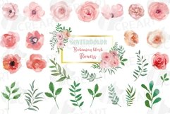 Blush watercolor floral wedding clip art, pink flowers leafs Product Image 1