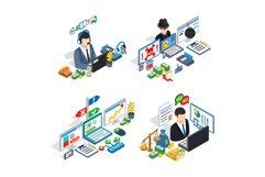 Money management clip art set, isometric style Product Image 1