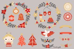 Red and gold Rustic Christmas clipart set with wreaths Product Image 5