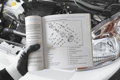 Square Soft Cover Book Car Scene Mockup Product Image 3