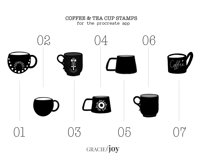 Coffee and Tea Cups Procreate Stamp Brush Product Image 3