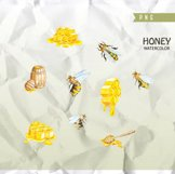 Watercolor Honey Bee Clipart, Honeycomb, Hand painted Product Image 3
