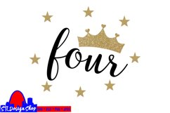 Fourth Birthday Party Princess SVG PNG DXF jpeg Crown Four Product Image 2