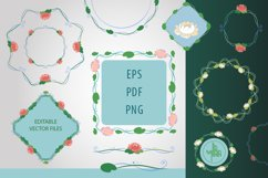 Elegant floral frames and borders, PNG & vector clipart pack Product Image 2