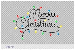 Handwritten text Merry Christmas as Christmas lights garland Product Image 2