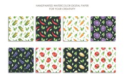 Watercolor vegetable mix digital paper pack. Food texture. Product Image 3