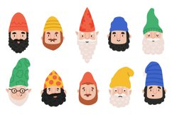 Garden gnomes emotions. Cute dwarf characters avatar, happy, Product Image 1