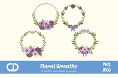 4 Floral Wreath Elements in shades of Purple Product Image 1