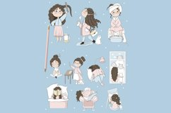 Cute girl with cat. Stickers. Part 1 Product Image 2