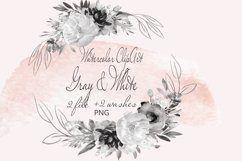 Gray Flowers Clipart Watercolor Product Image 1