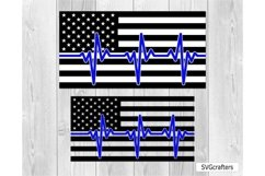 Heartbeat American Flag SVG, Police SVG, Back the blue svg Product Image 5