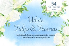 Watercolor white tulips and freesias Product Image 1