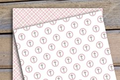 Girl Baptism Digital Papers, Cross Dove Clipart, Product Image 3