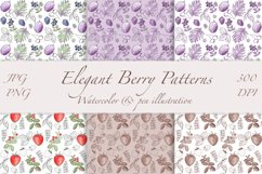 Elegant Berry Patterns. Watercolor and line art, JPG, PNG Product Image 1