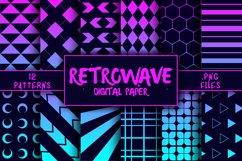 Retrowave Pattern Digital Paper Product Image 1
