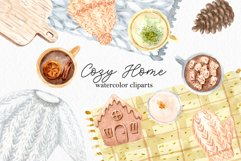 Watercolor Cozy Home. Clipart Set Product Image 1
