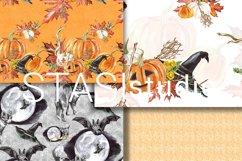 Halloween Watercolor Handpainted Paper, Seamless Patterns Product Image 3