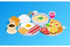 Breakfast clip art, isometric style Product Image 1