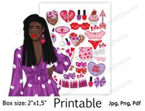 """Galentine's Day African American Stickers Box Size 2""""x1,5"""" Product Image 3"""