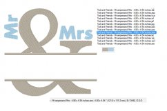 Mr & Mrs Split Name Frame - Machine Embroidery Designs Product Image 2