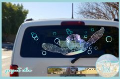 Sea Turtle Mandala Swimming with Bubbles SVG Product Image 3
