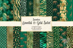 Emerald and Gold Animal Print Digital Paper Product Image 1