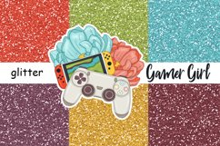 Gamer Girl GLITTER Rainbow For Planner Stickers - JPEG files Product Image 1