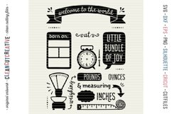 BIRTH STATS TEMPLATE - Baby Birth Announcement - SVG file Product Image 4