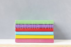 Children multicolour colourful books on a wooden shelf. Product Image 1