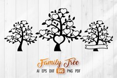 Family Tree SVG - 8 Hearts Clipart Set Product Image 1