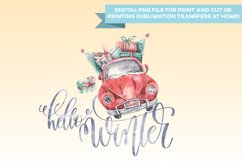 Hello Winter Car - PNG - Print and Cut Christmas Xmas Product Image 2
